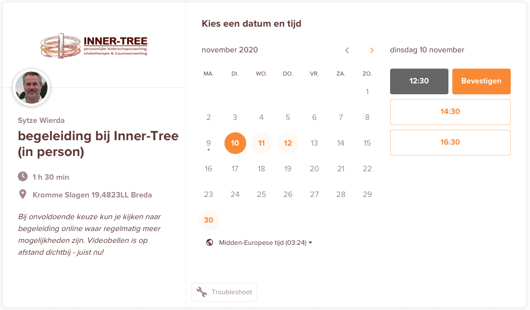Inner-Tree Calendly Integratie website